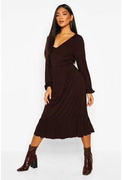 Womens Chocolate V Neck Tiered Smock Midi Dress