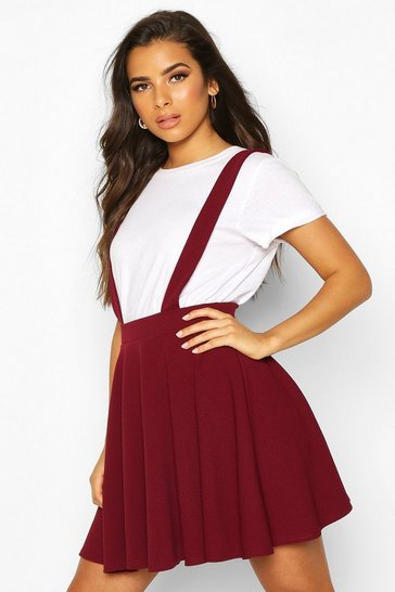 Womens Berry Basic Jersey Pinafore Skirt