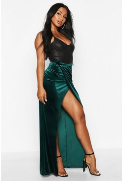 Emerald High Waist Wrap Front Velvet Maxi Skirt