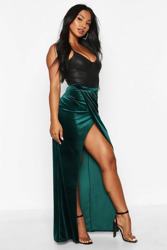 High Waist Wrap Front Velvet Maxi Skirt