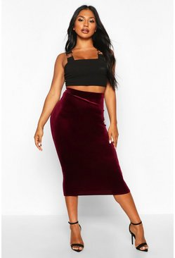 Womens Berry Velvet Midaxi Skirt