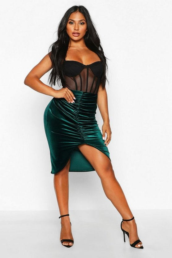 Emerald Ruched Front Velvet Midi Skirt