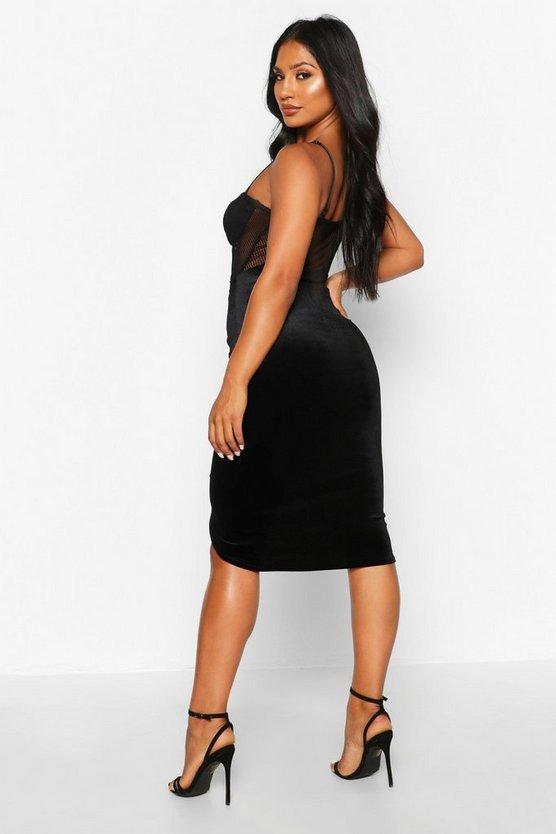 Ruched Front Velvet Midi Skirt