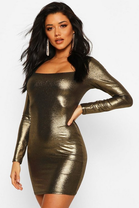 Gold Long Sleeve Square Bodycon Mini Dress