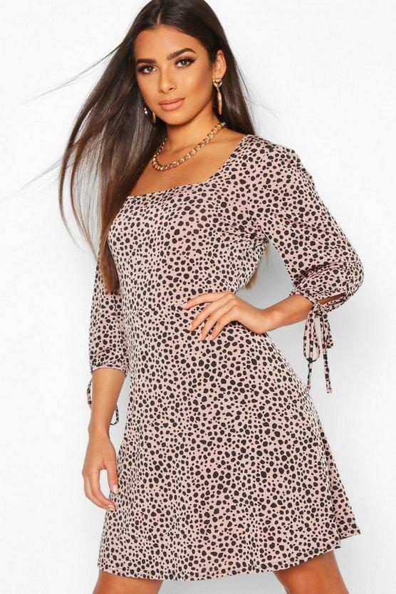 Dalmatian Gathered Sleeve Smock Dress