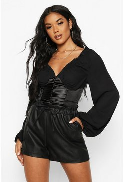 Black Satin Corset Ruched Front Top