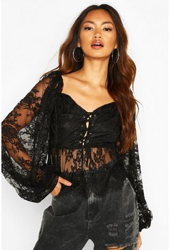 Womens Black Lace Oversized Sleeve Eyelet Peplum Top