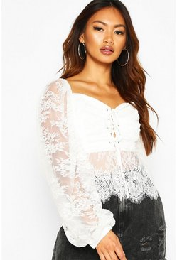 Womens White Lace Oversized Sleeve Eyelet Peplum Top
