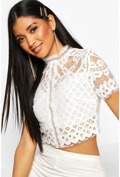 Womens White High Neck Lace Cropped Top