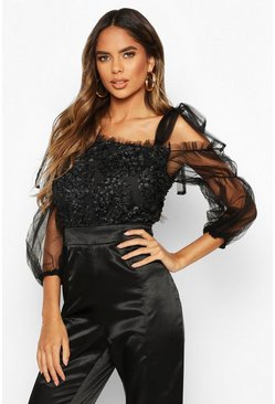 Womens Black Organza Tie SHouler Sequin Detail Top