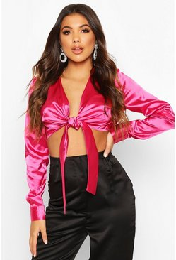 Womens Fushia Satin Tie Front Crop Top