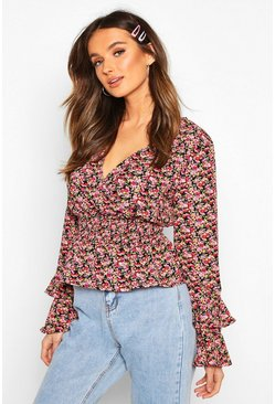 Womens Black Woven Floral Ruffle Detail Blouse