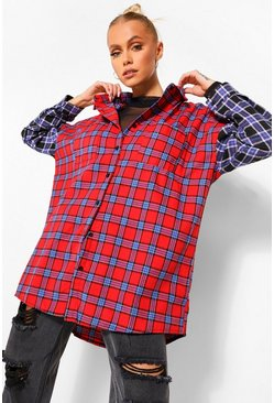 Womens Red Mixed Check Contrast Sleeve Oversized Shirt