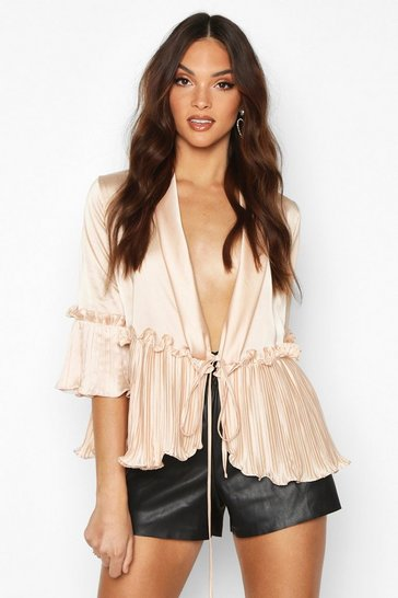Womens Champagne Satin Pleated Tie Front Blouse