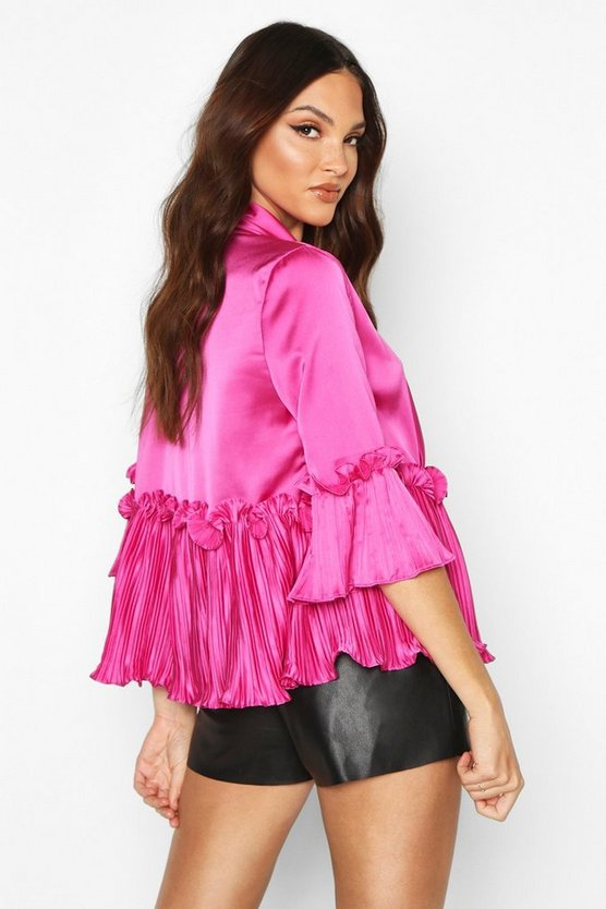 Satin Pleated Tie Front Blouse