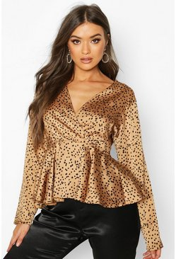 Womens Camel Satin Spot Wrap Blouse