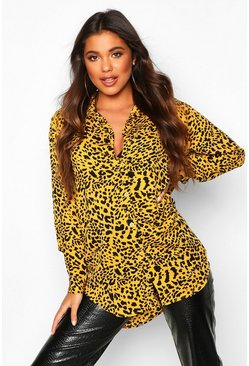 Womens Yellow Woven Animal Print Shirt