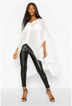Womens White Woven Oversized Maxi Shirt