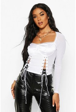 White Satin Lace Up Corset Detail Top