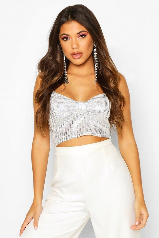 Silver Glitter Bow Detail Strappy Crop