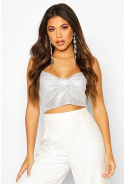 Womens Silver Glitter Bow Detail Strappy Crop