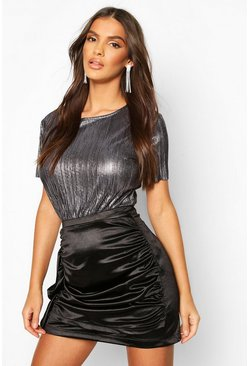 Womens Black Metallic Pleat T-Shirt