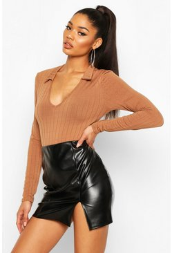 Womens Mocha Jumbo Soft Rib Collared Long Sleeve Bodysuit