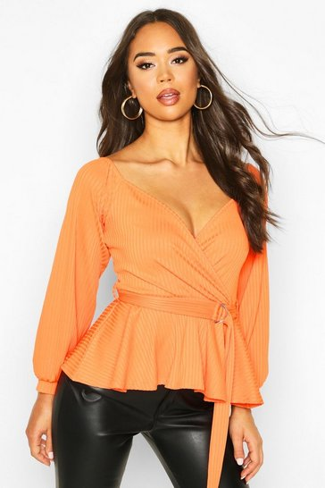 Womens Orange Jumbo Rib Wrap Detail Top