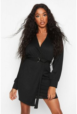 Black Wrap Detail Jumbo Rib Midi Dress