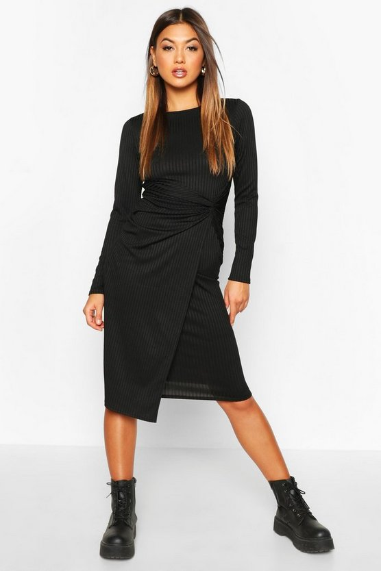 Black Jumbo Rib Twist Front Midi Dress