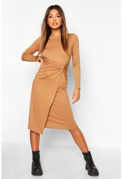 Camel Jumbo Rib Twist Front Midi Dress