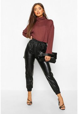 Chocolate Jumbo Rib High Neck Slouchy Crop