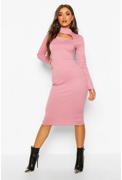 Rose Jumbo Rib Slash High Neck Midi Dress