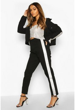 Black Rhinestone Diamante Stripe High Waist Skinny Jean