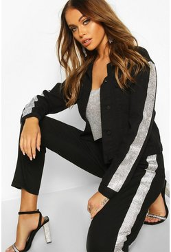 Black Rhinestone Diamente Stripe Slim Fit Denim Jacket