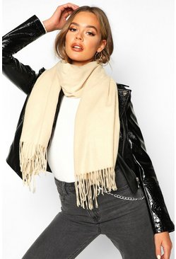 Cream Brushed Fringe Scarf