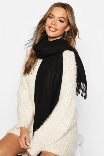 Womens Black Brushed Fringe Scarf
