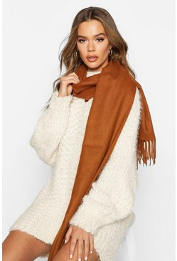 Brushed Fringe Scarf, Coffee