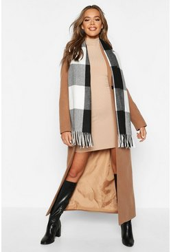 Black Check Oversized Fringe Scarf