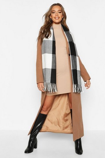 Womens Black Check Oversized Fringe Scarf