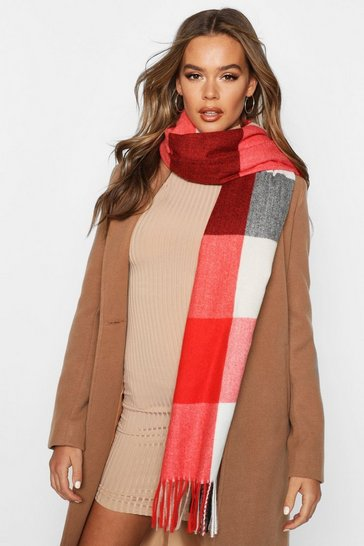 Red Check Oversized Fringe Scarf