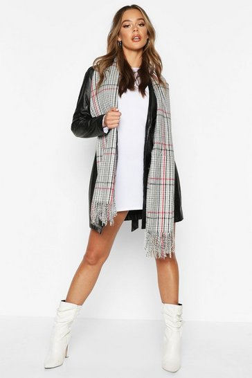 Womens Black Dogtooth Check Scarf
