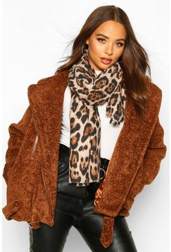 Womens Brown Leopard Print Scarf