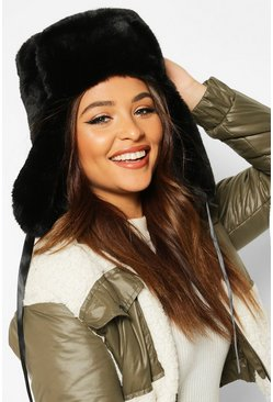 Black Faux Fur Trapper Hat