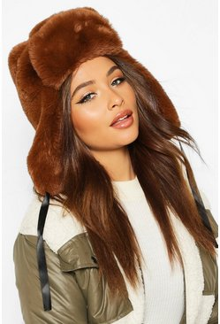 Womens Chocolate Faux Fur Trapper Hat