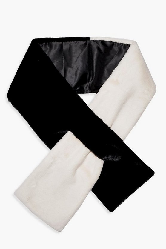 Faux Fur Colour Block Scarf