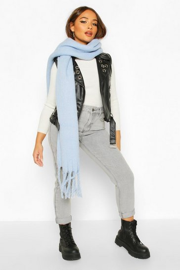 Womens Light blue Chunky Oversized Fringe Scarf