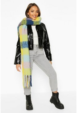 Womens Yellow Oversized Bright Check Chunky Scarf