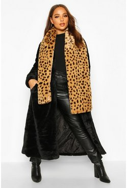 Womens Brown Faux Fur Leopard Oversized Scarf