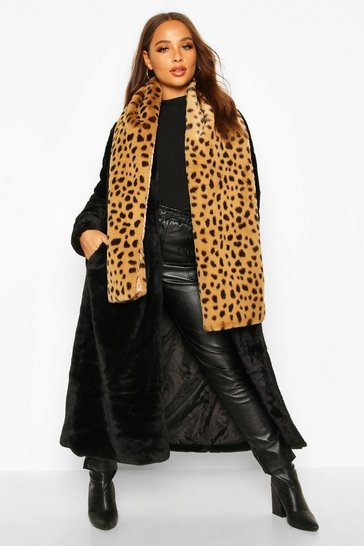 Brown Faux Fur Leopard Oversized Scarf